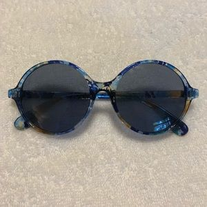 Blue splatter print Round Sunglasses